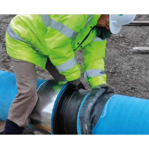 Ochrana hrdlového spoje pro bezvýkopovou pokládku potrubí z tvárné litiny