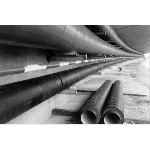Potrubí s tepelnou izolací na mostě - vnější plášť polyetylen