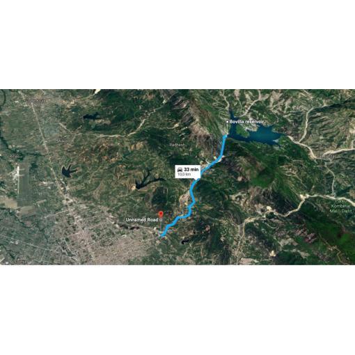Trasa projektu výstavby nového vodovodu